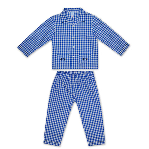 BOYS BLUE AND WHITE GINGHAM PYJAMAS
