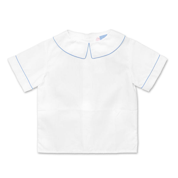 BOYS WHITE COLLARED SHIRT WITH PALE BLUE TRIM