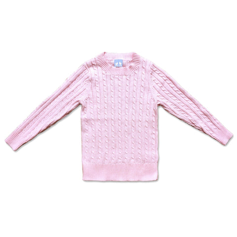 COTTON CABLE KNIT JUMPER IN PALE PINK