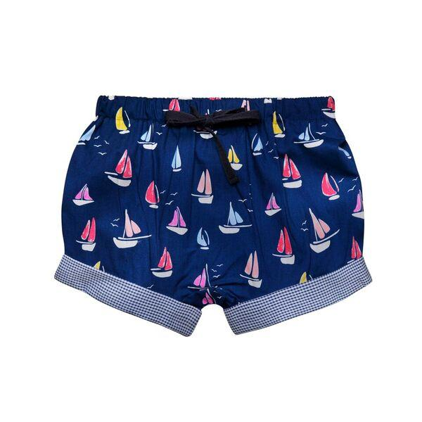 BOYS NAVY YACHT PRINT SHORTS