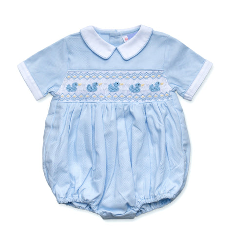 TILLY BLUE DUCK SMOCKED ROMPER