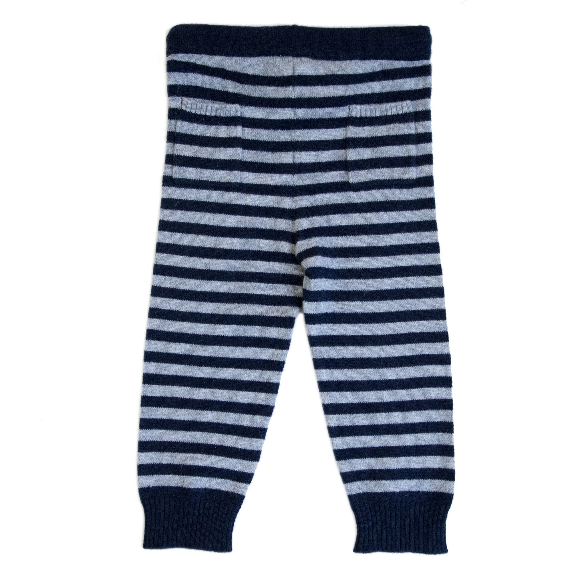 CASHMERE STRIPE PANTS IN NAVY AND GREY