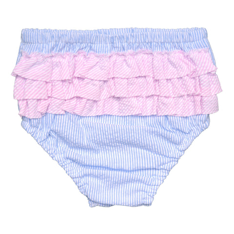 FLORRIE BLOOMERS IN BLUE AND WHITE STRIPE SEERSUCKER