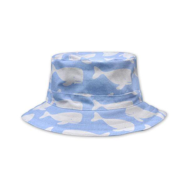 BOYS WHALE PRINT HAT IN PALE BLUE