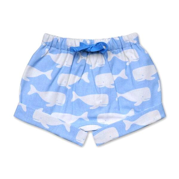 BOYS WHALE PRINT SHORTS IN PALE BLUE