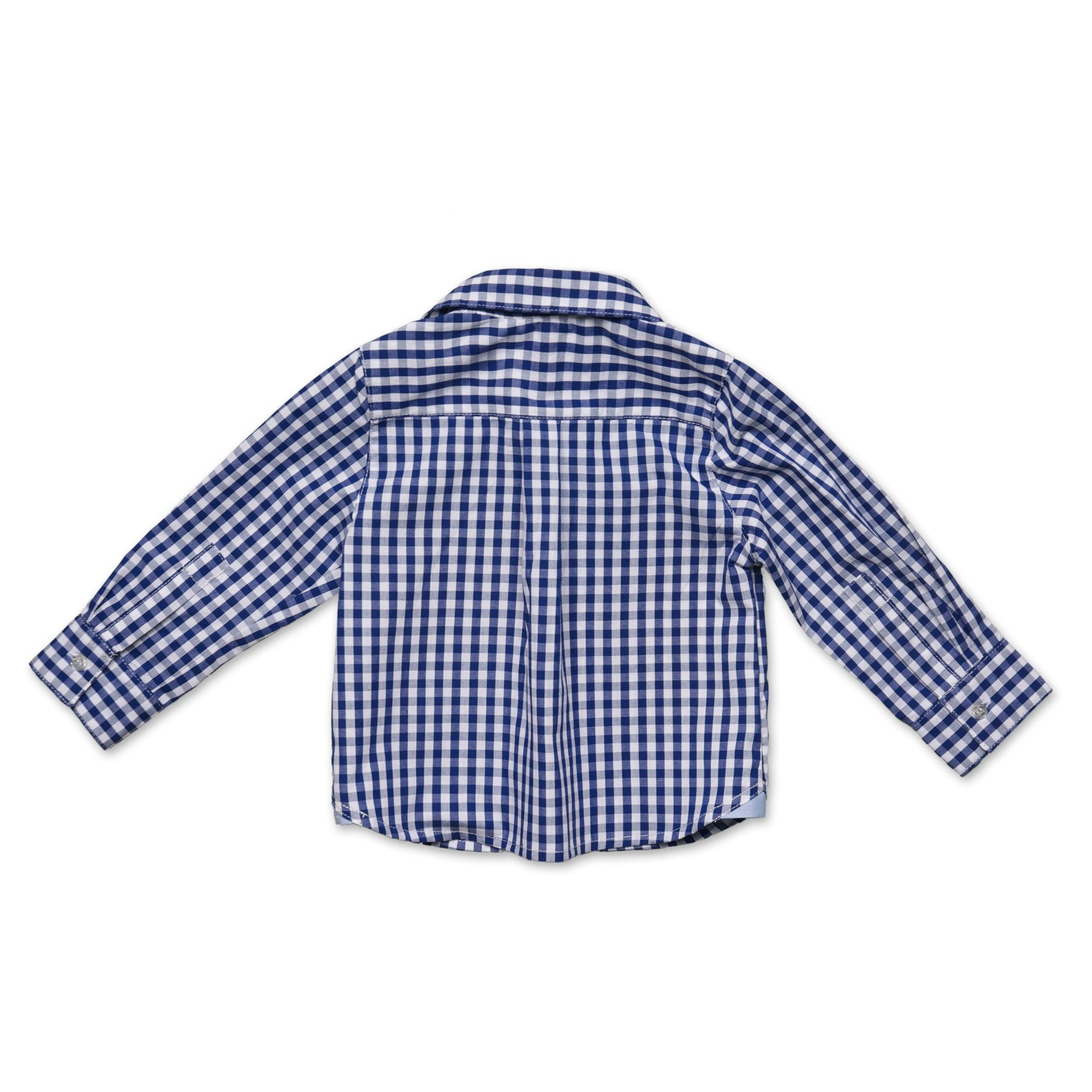 BOYS BLUE GINGHAM SHIRT WITH CONTRAST CUFF