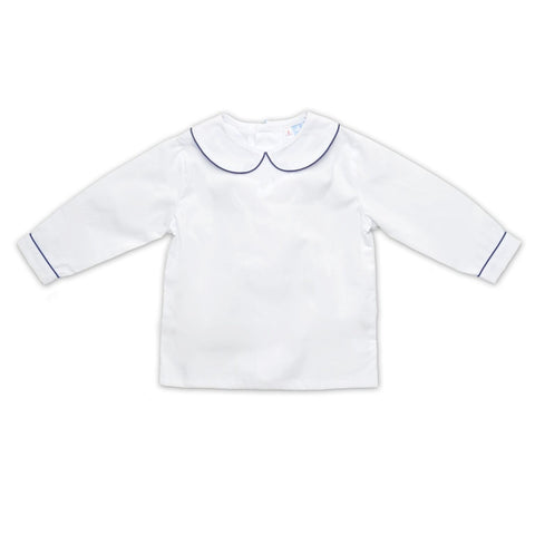 BOYS WHITE COLLARED LONG SLEEVE SHIRT WITH NAVY TRIM