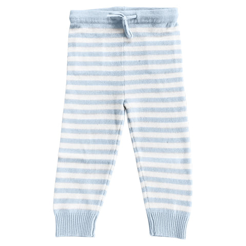 CASHMERE STRIPE PANTS IN PALE BLUE AND WHITE