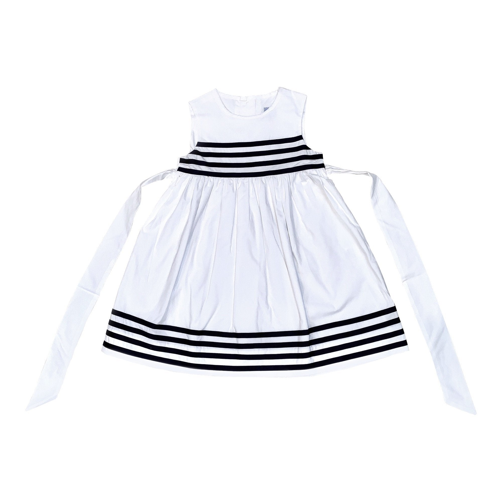 CHLOE RIBBON DRESS IN WHITE AND NAVY