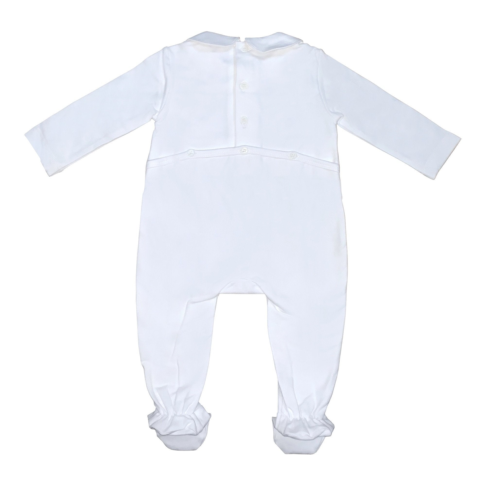 BOYS STRETCH COTTON SMOCKED ROMPER