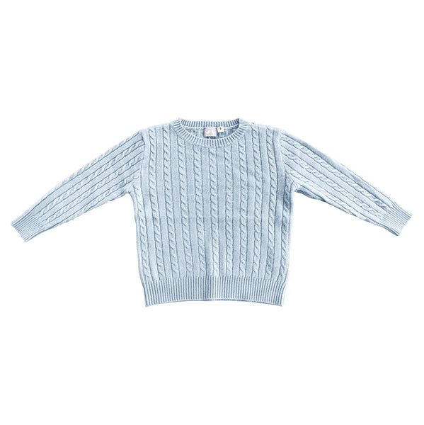 CASHMERE CABLE KNIT JUMPER IN PALE BLUE
