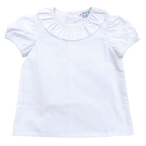 FRILL COLLARED SHORT SLEEVE SHIRT IN WHITE