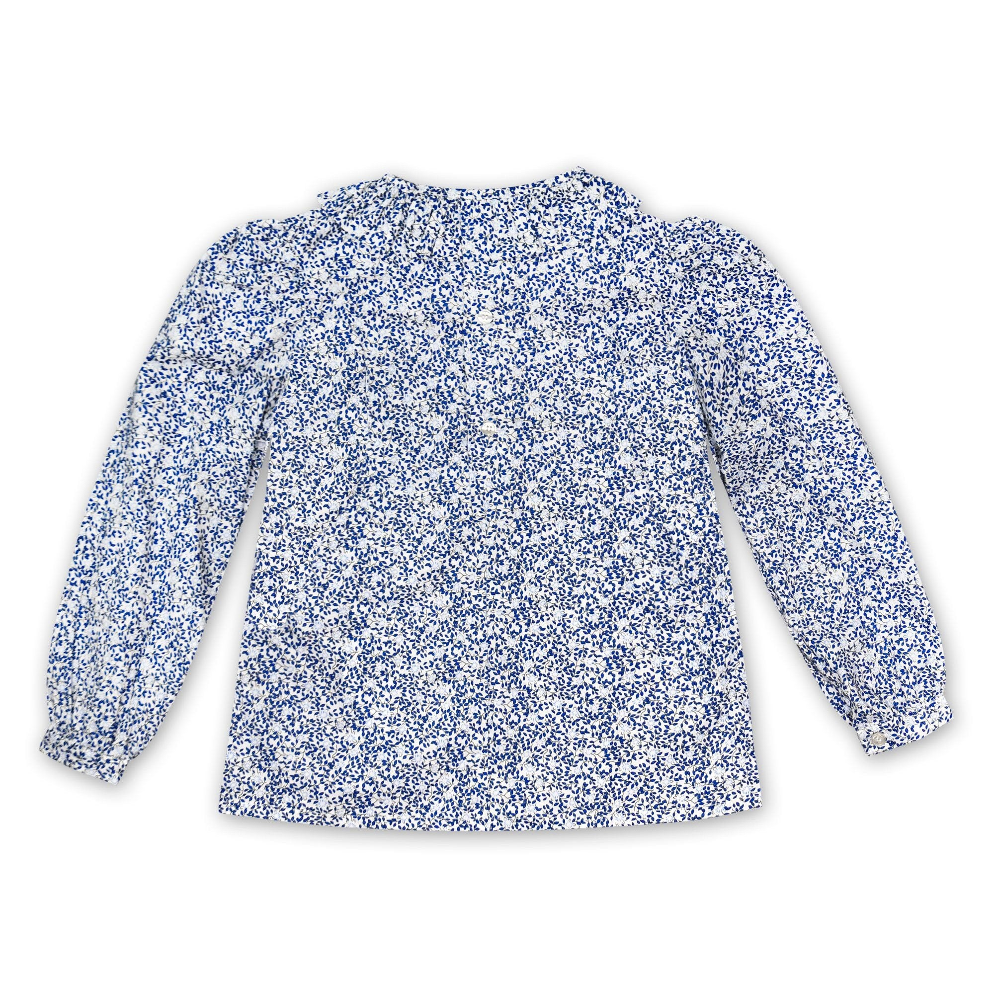 FRILL COLLARED SHIRT IN NAVY AND PALE BLUE FLORAL PRINT