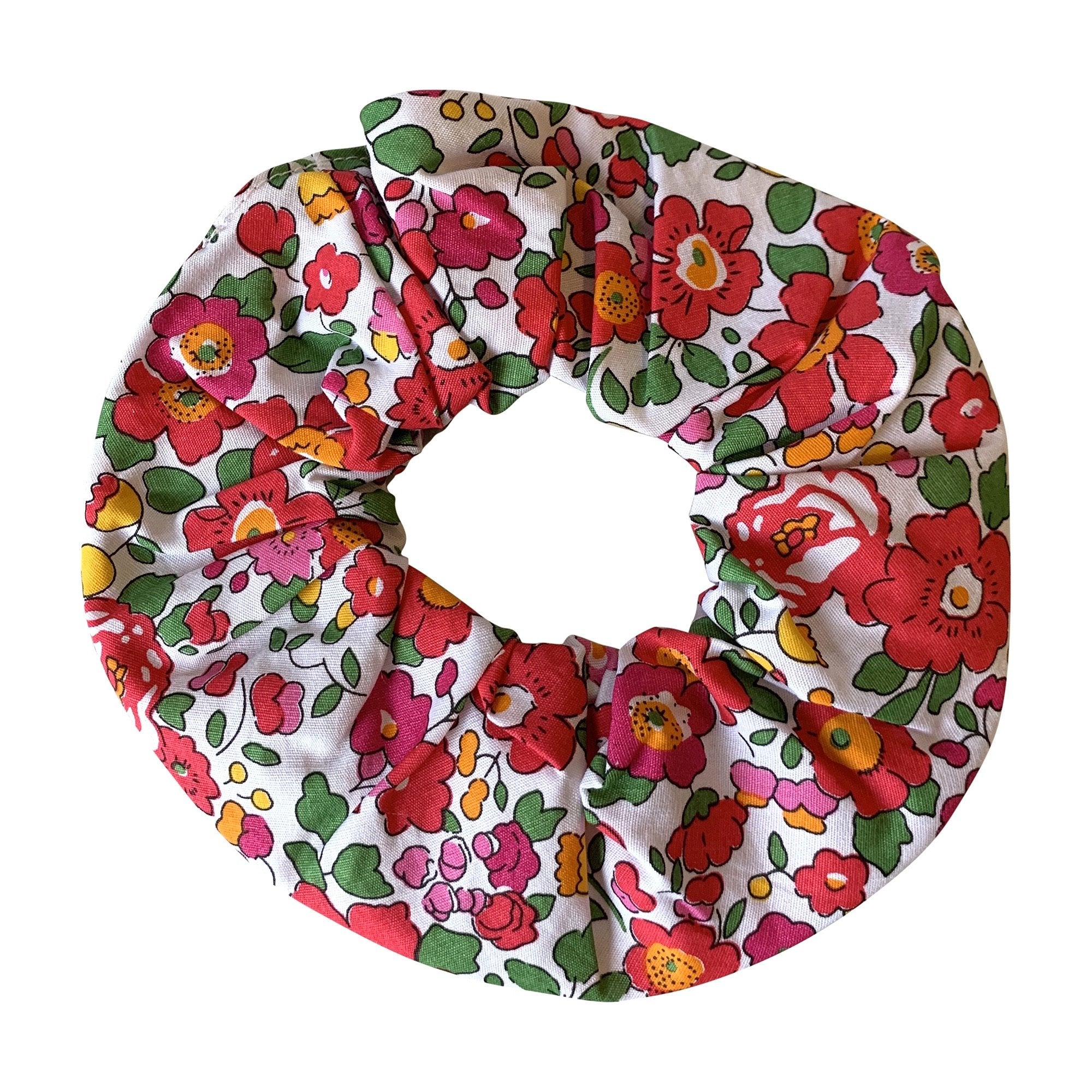 HAIR SCRUNCHIE IN RED LIBERTY PRINT