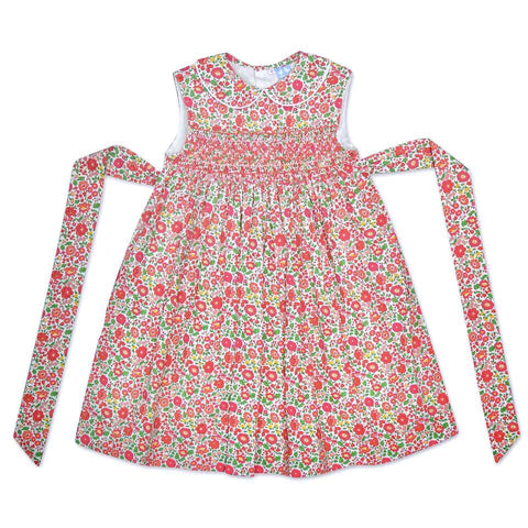 BELLA RED LIBERTY PRINT SMOCK DRESS