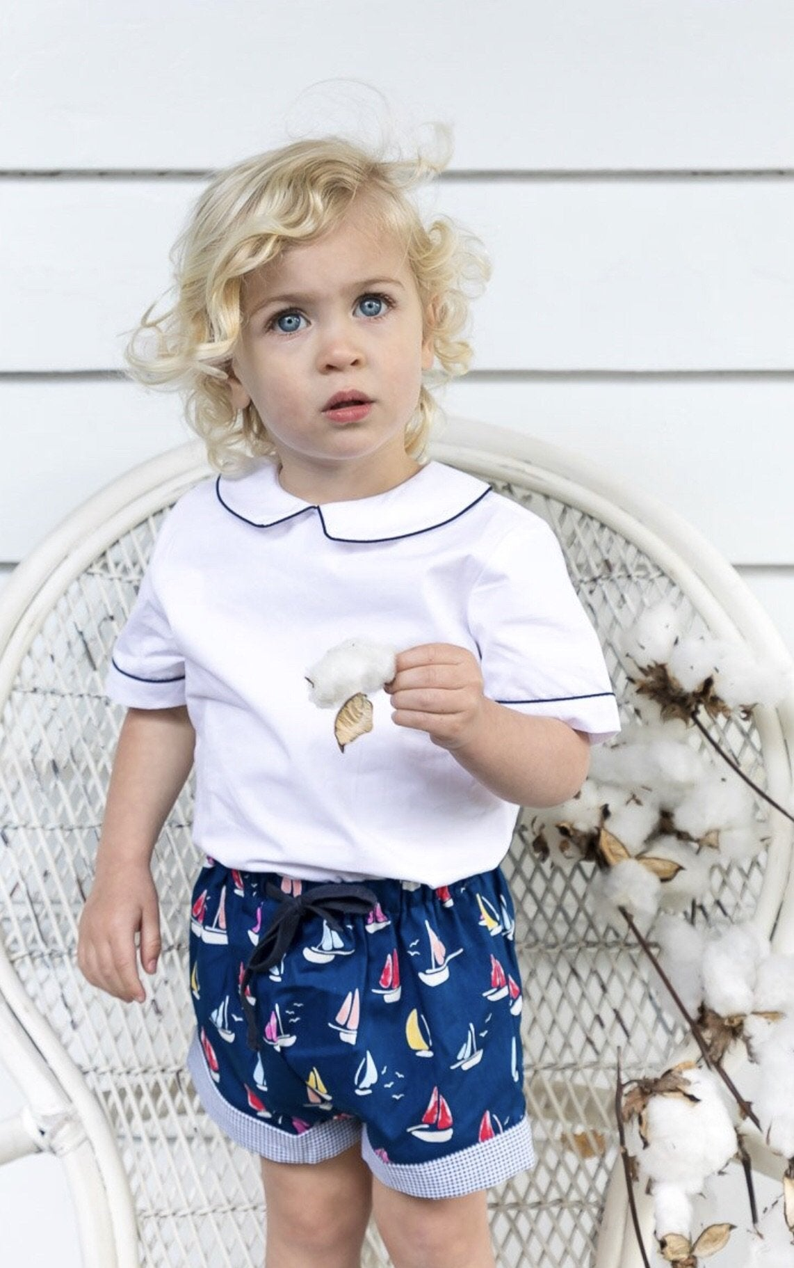 BOYS PALE BLUE YACHT PRINT SHORTS