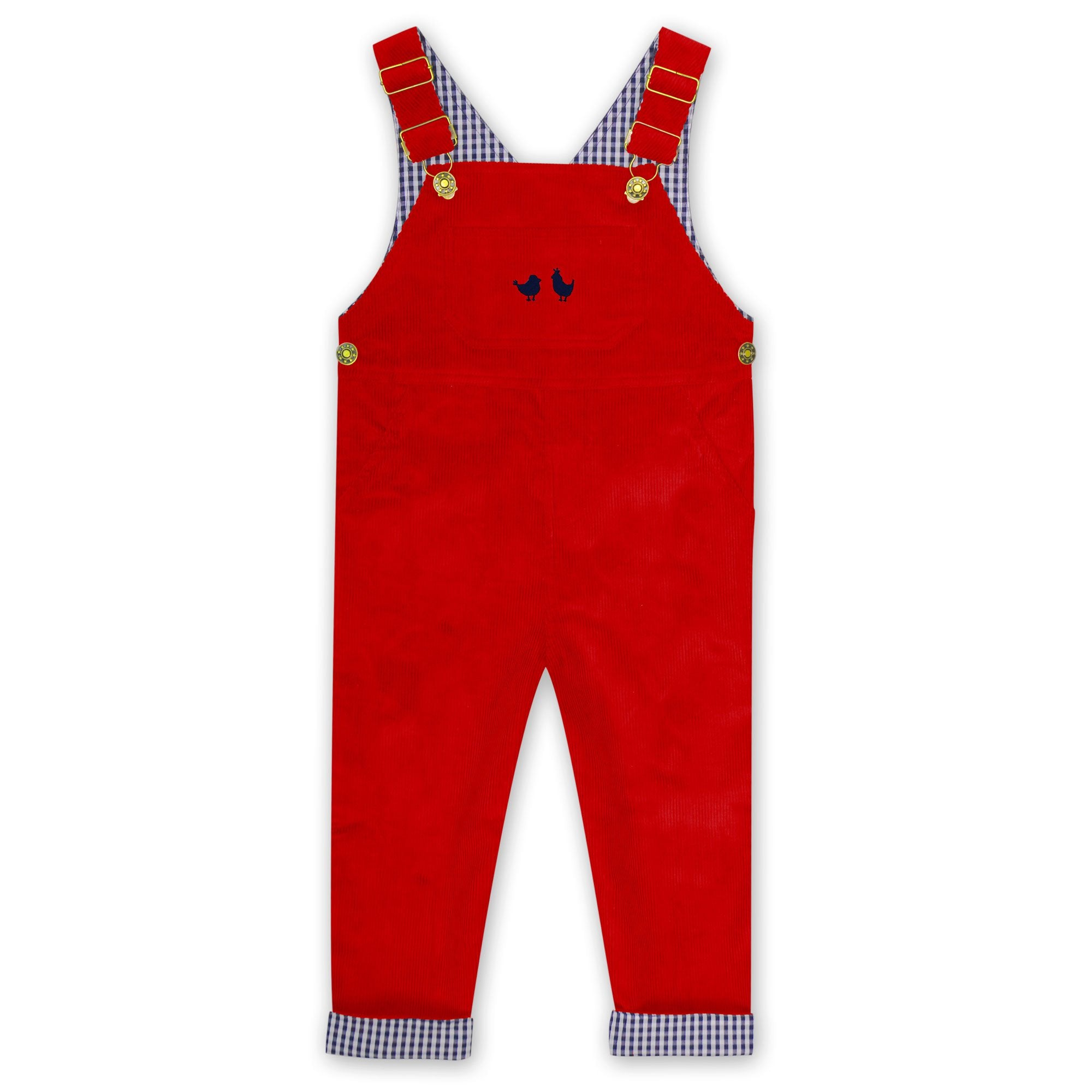 CORDUROY OVERALLS IN RED WITH NAVY BIRDS