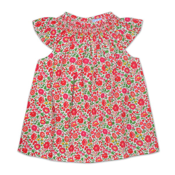 FLORRIE BISHOP SMOCKED TOP IN RED LIBERTY PRINT