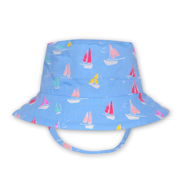 BOYS PALE BLUE YACHT PRINT HAT