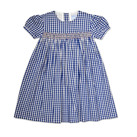 CHLOE NAVY AND WHITE GINGHAM SMOCK DRESS
