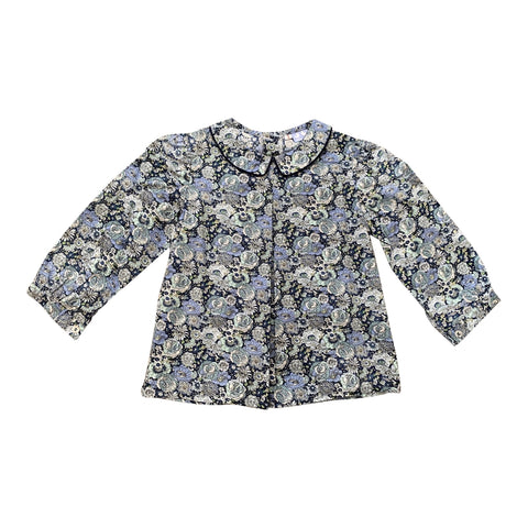 COLLARED SHIRT IN NAVY AND BLUE LIBERTY