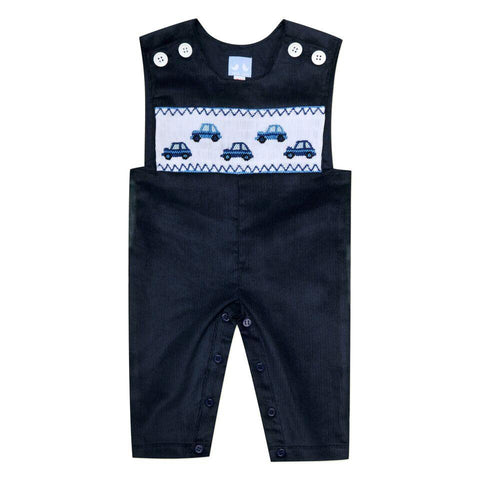 CORDUROY SMOCKED OVERALLS IN NAVY