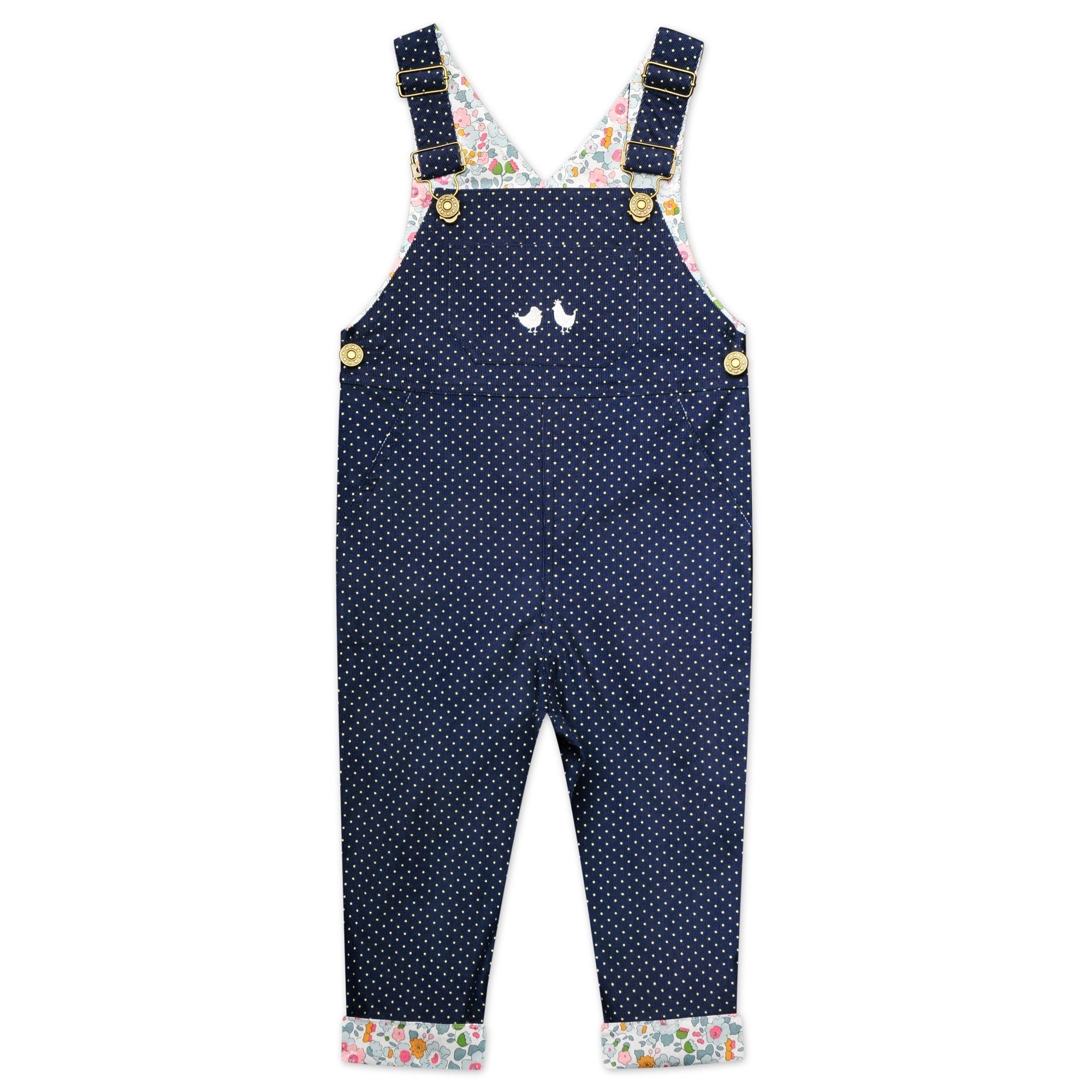 CORDUROY OVERALLS IN NAVY POLKA DOT