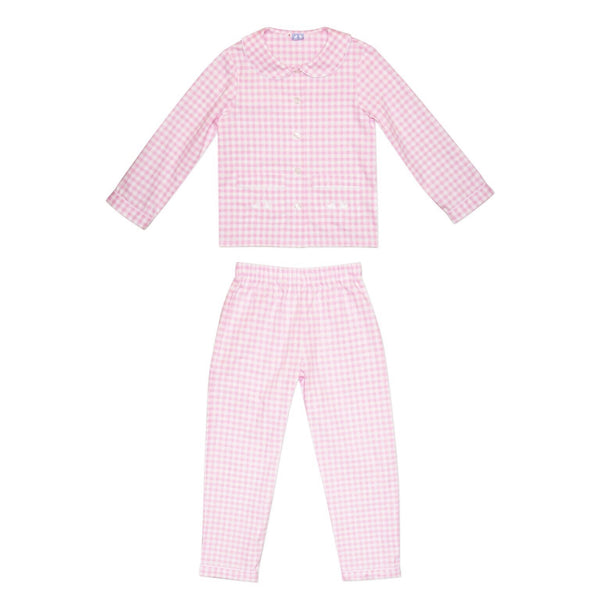 GIRLS PINK AND WHITE GINGHAM PYJAMAS