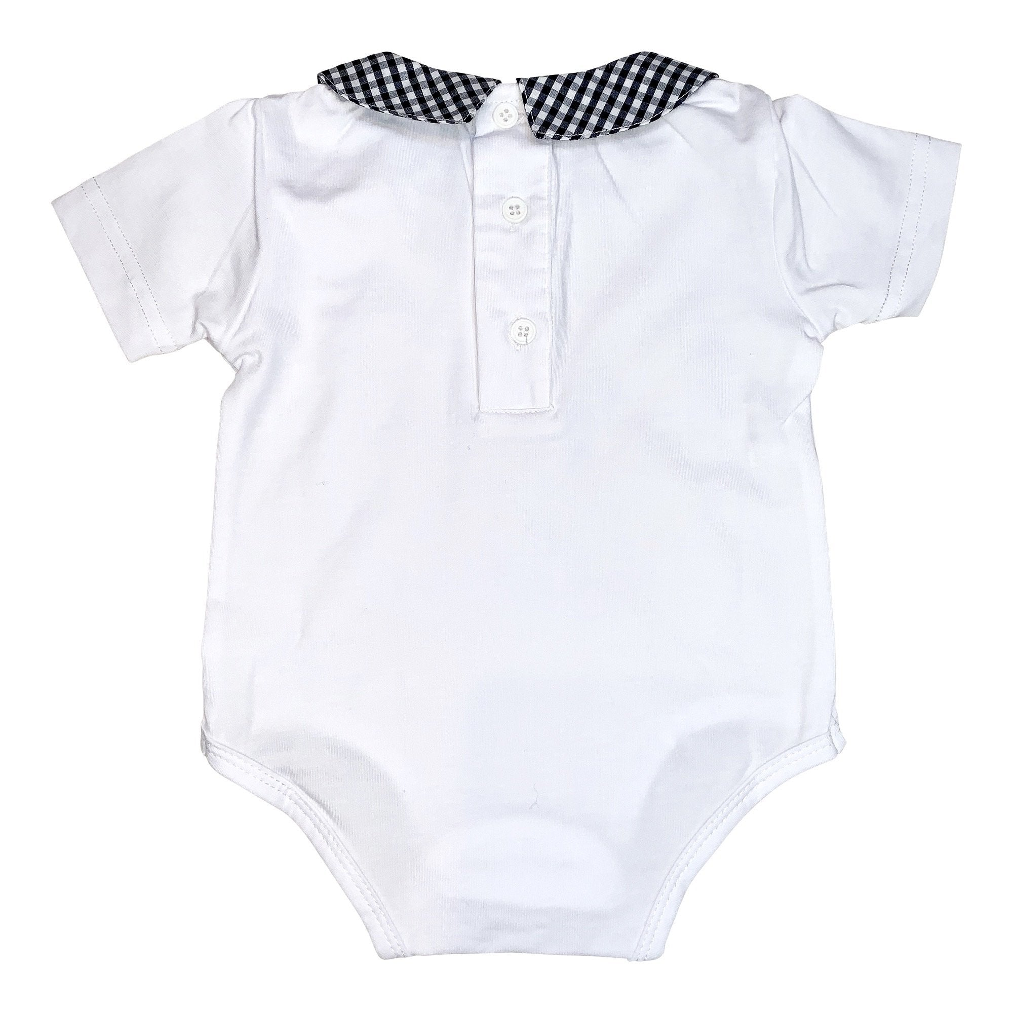 BOYS SHORT SLEEVE NAVY GINGHAM COLLARED ROMPER