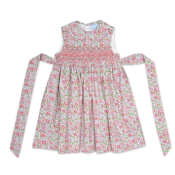 BELLA PINK AND GREEN LIBERTY PRINT SMOCK DRESS