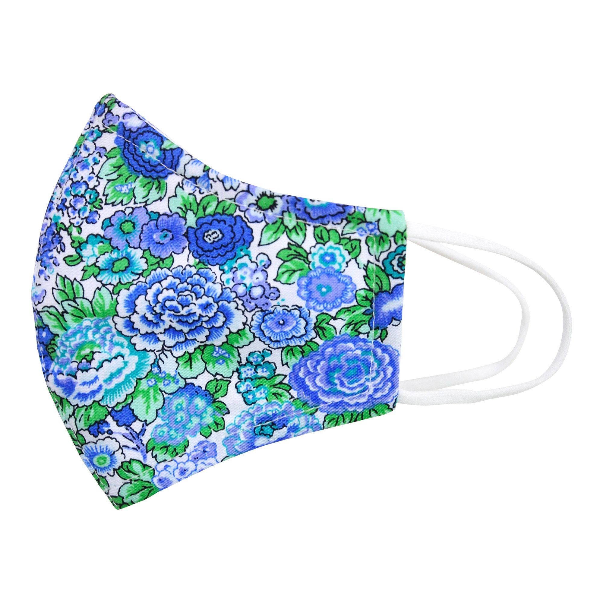 FACE MASK IN BLUE AND GREEN LIBERTY PRINT