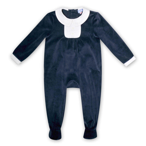 COLLARED NAVY VELVET JUMPSUIT