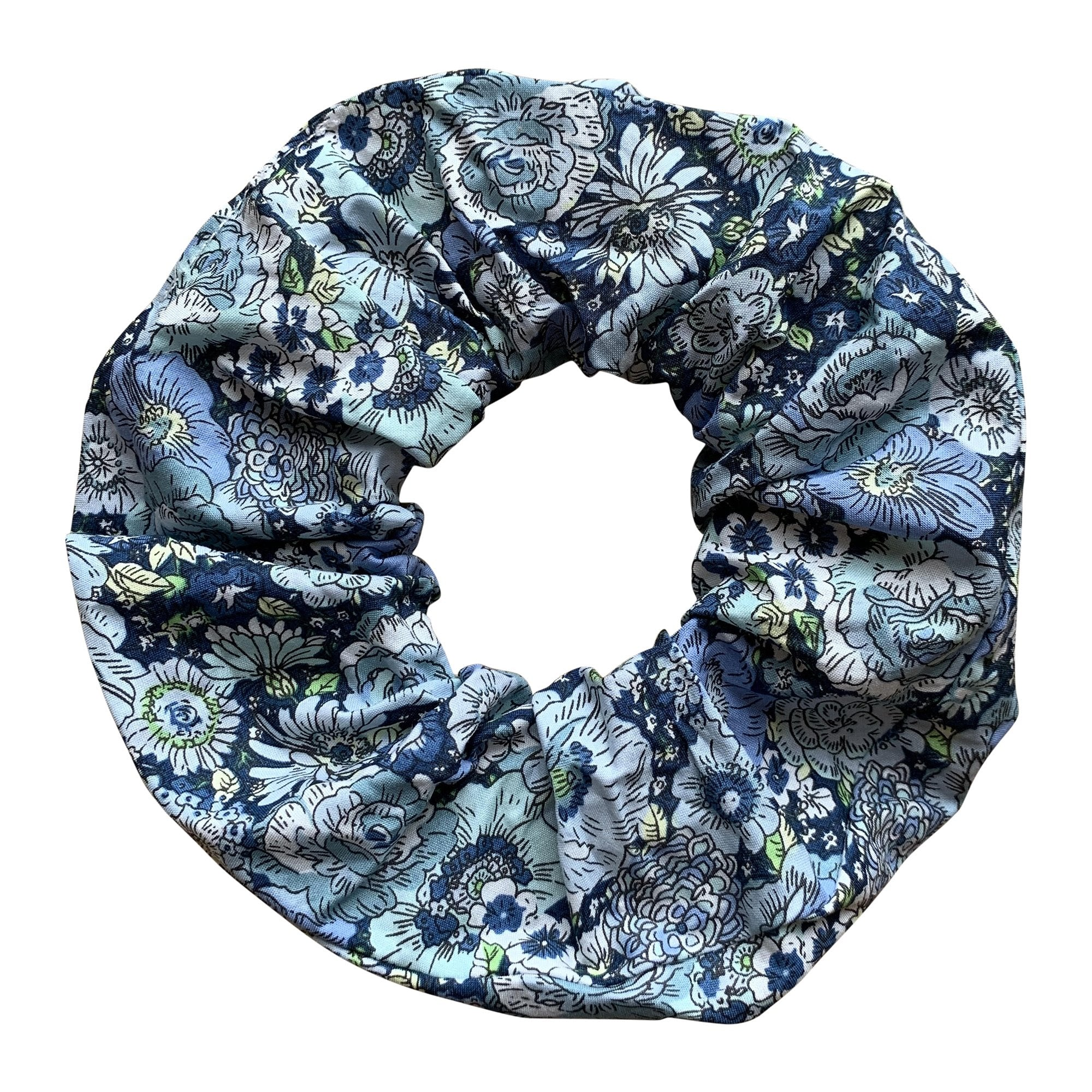 HAIR SCRUNCHIE IN NAVY LIBERTY PRINT