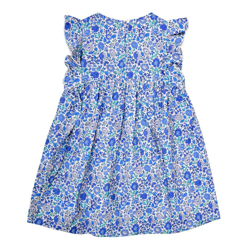 FRILL SLEEVE LIBERTY PRINT DRESS IN BLUE