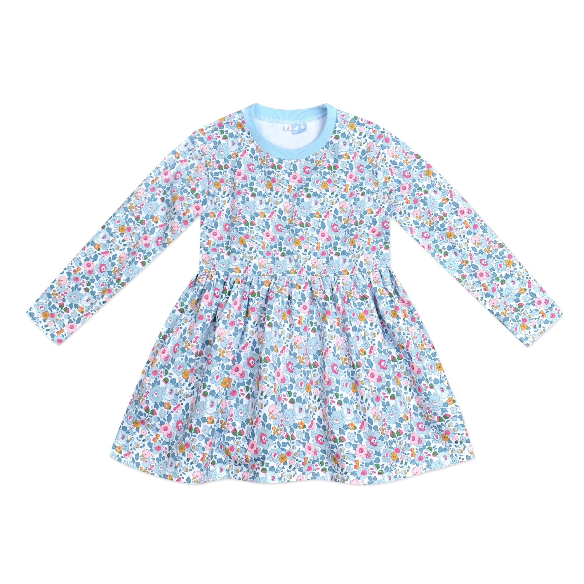 BESSIE PALE BLUE LIBERTY PRINT SWEAT DRESS