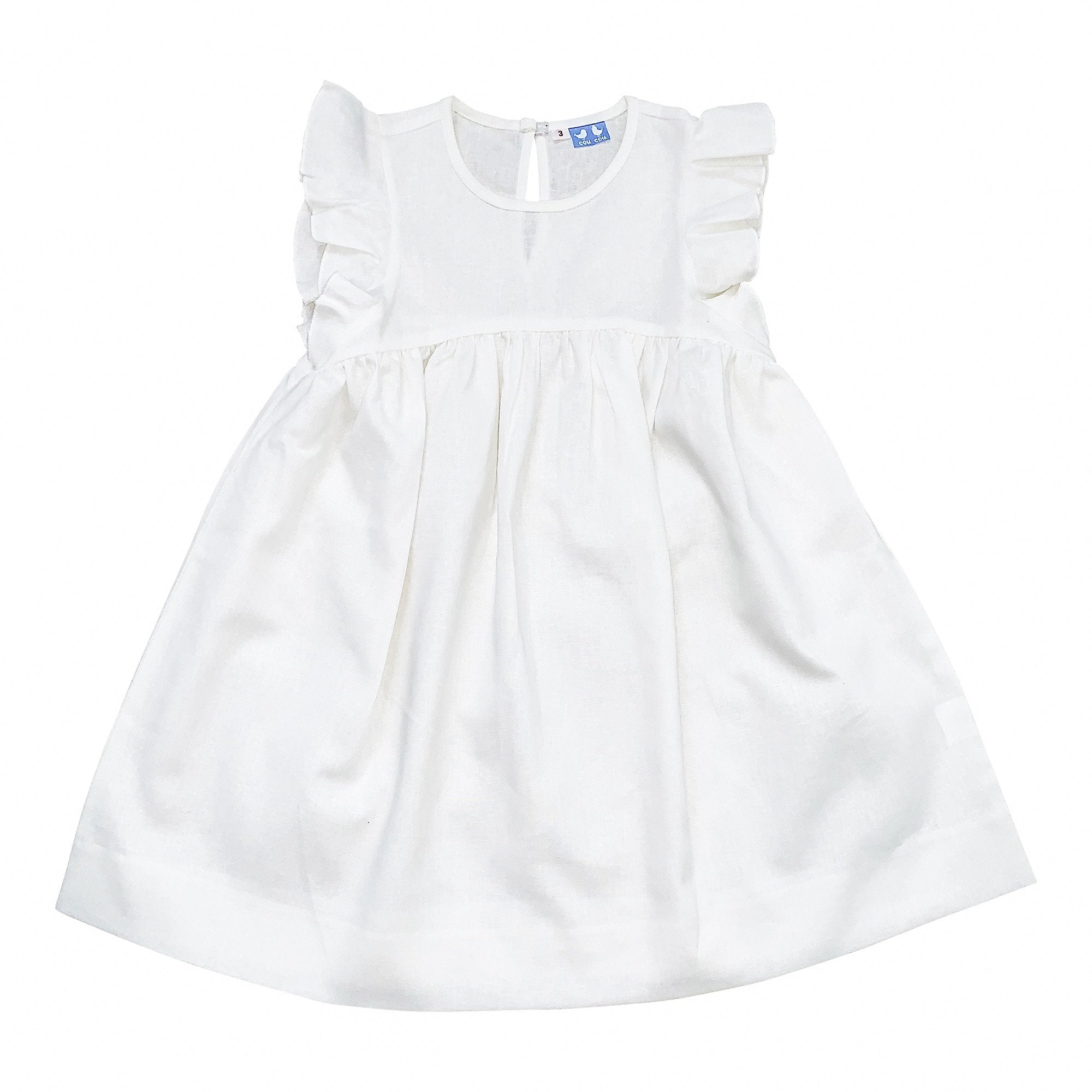 FRILL SLEEVE WHITE LINEN DRESS