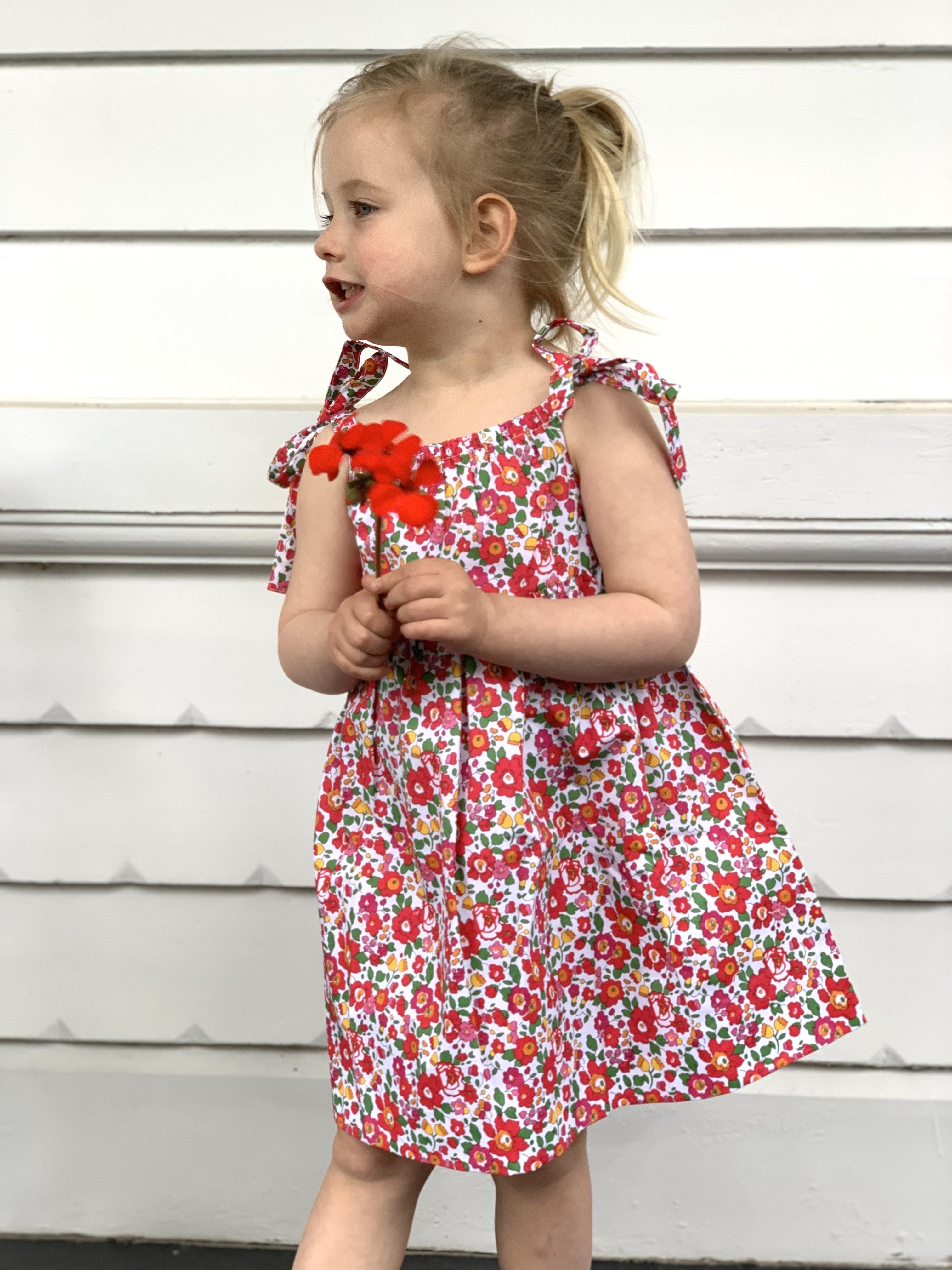 CLEMENTINE DRESS IN RED LIBERTY PRINT