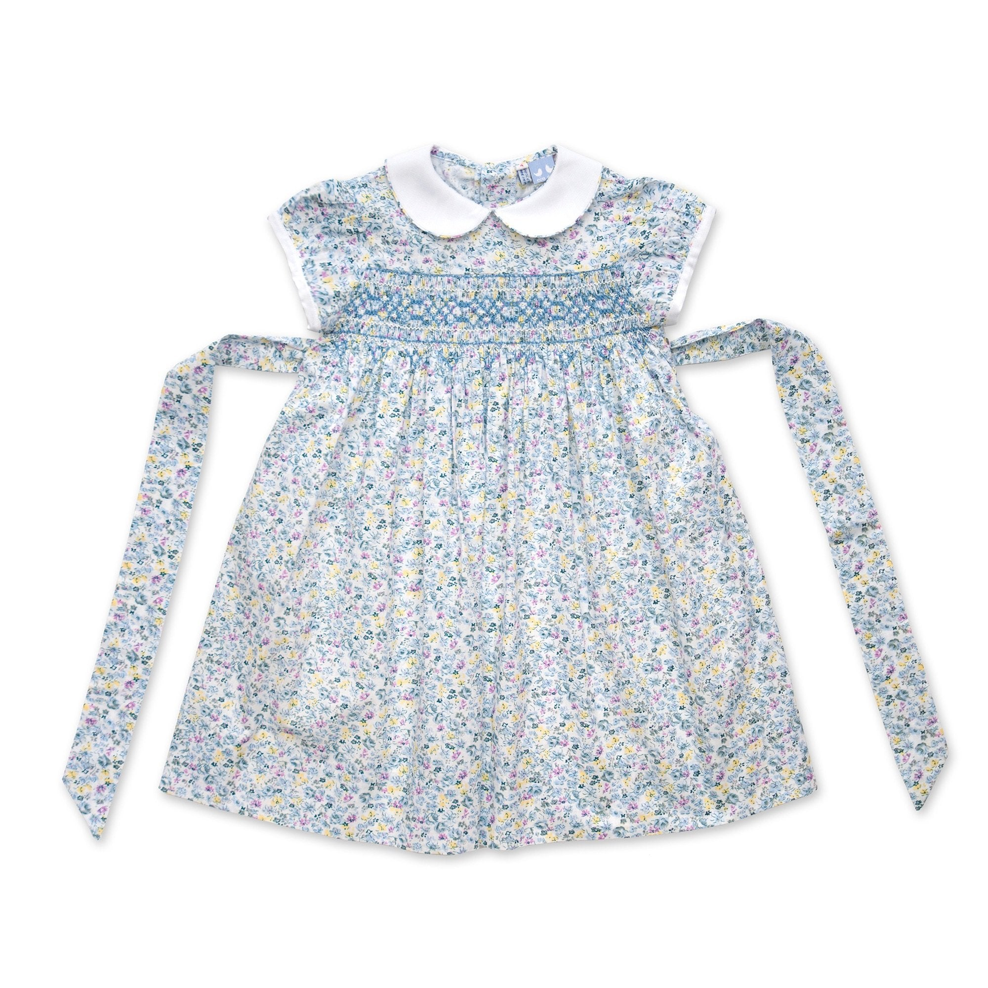 6acd1cafb BELLA CAP SLEEVE PALE BLUE FLORAL SMOCK DRESS | Cou Cou Baby