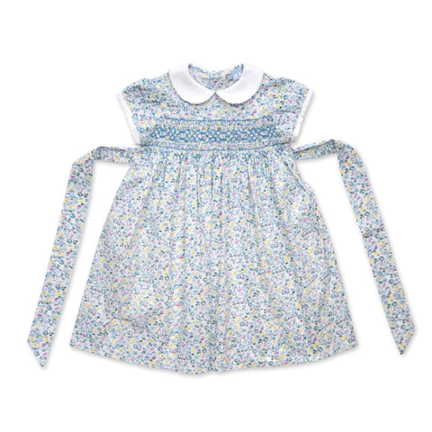 BELLA CAP SLEEVE PALE BLUE FLORAL SMOCK DRESS