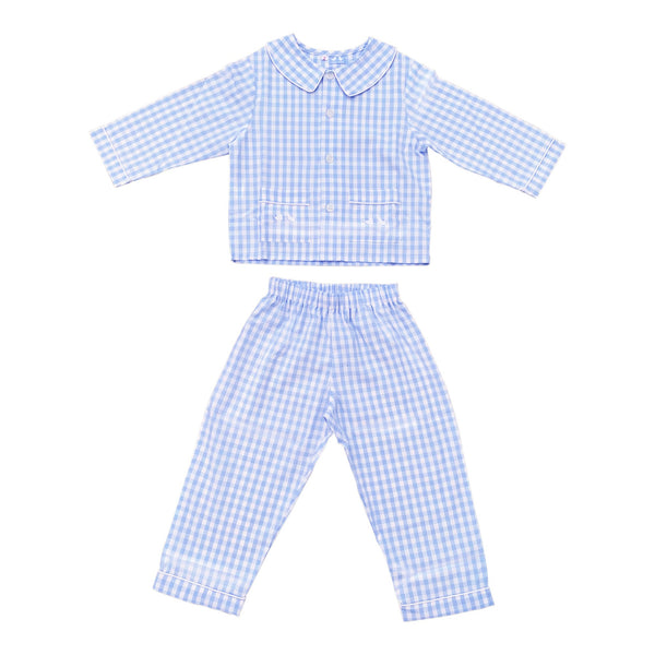 BOYS LONG PALE BLUE AND WHITE GINGHAM PYJAMAS