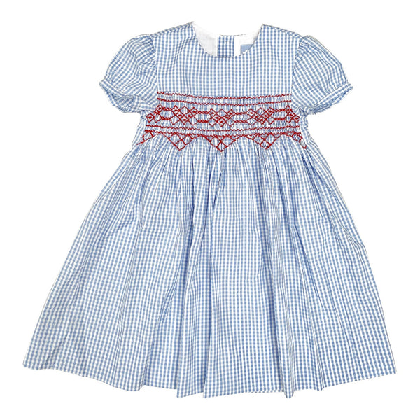 BETSY PALE BLUE GINGHAM SMOCK DRESS