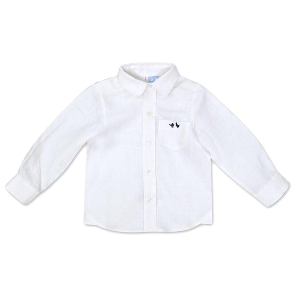 BOYS WHITE LINEN SHIRT WITH SIGNATURE COU COU BIRDS