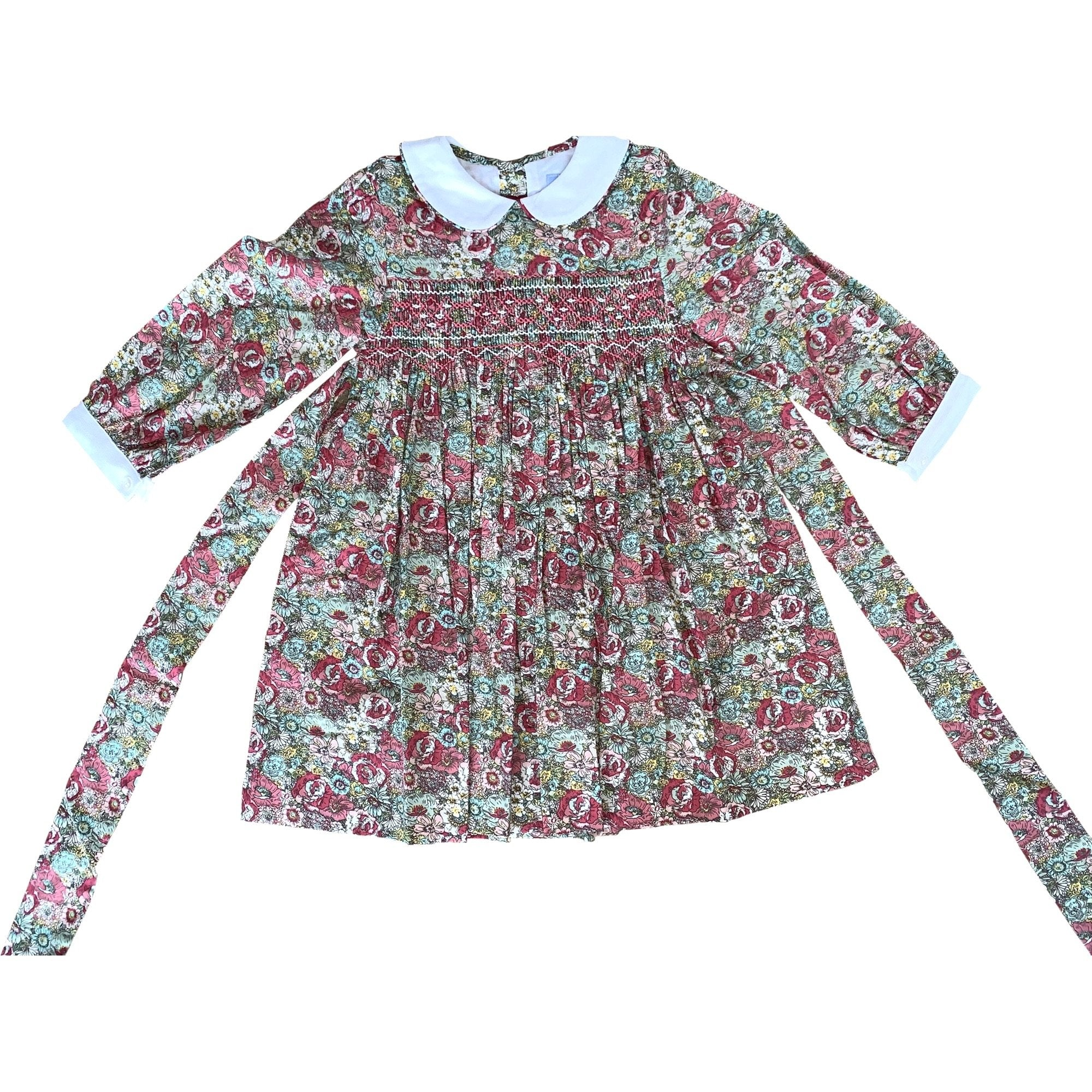 GRACE PINK AND GREEN FLORAL SMOCK DRESS