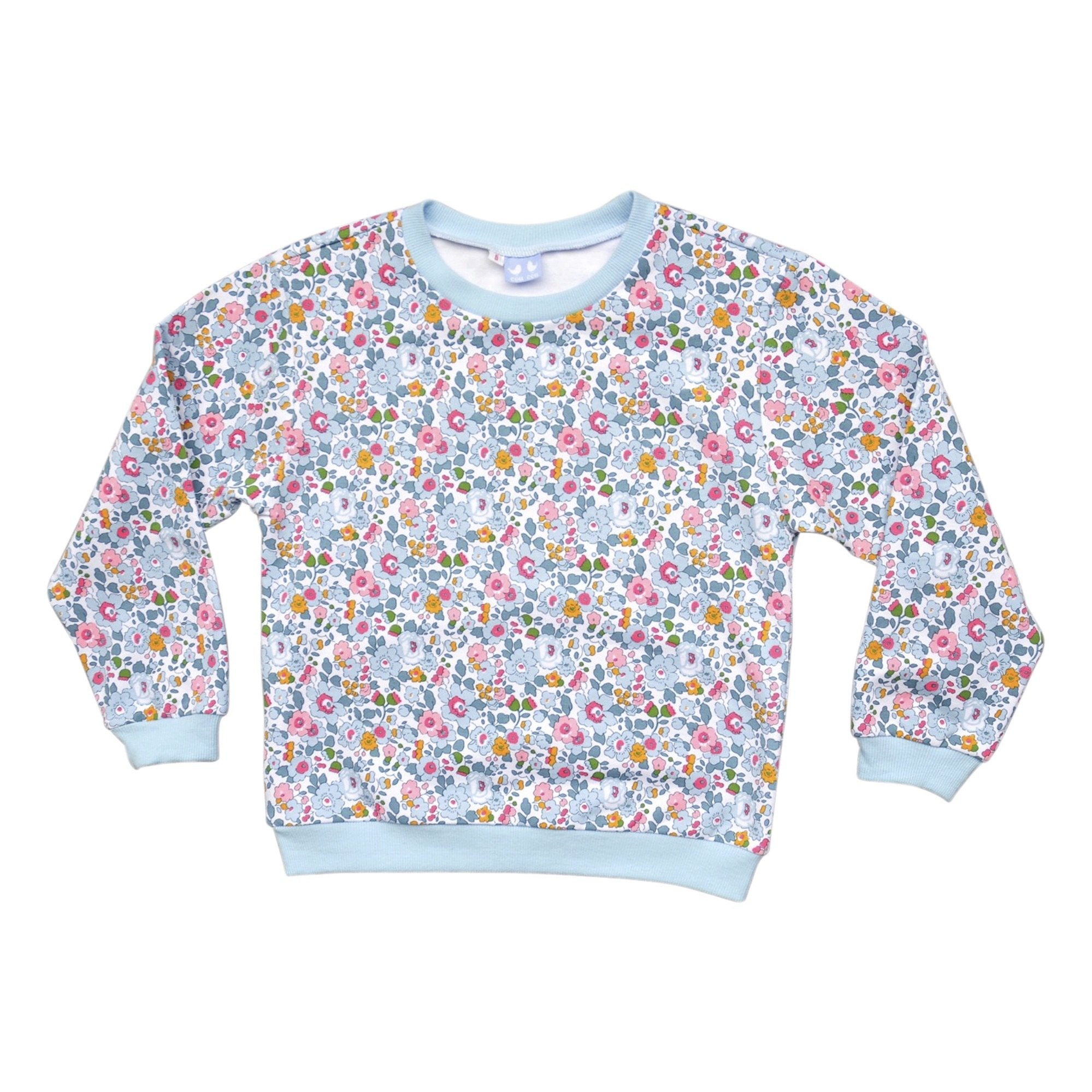 BESSIE PALE BLUE LIBERTY PRINT SWEATER