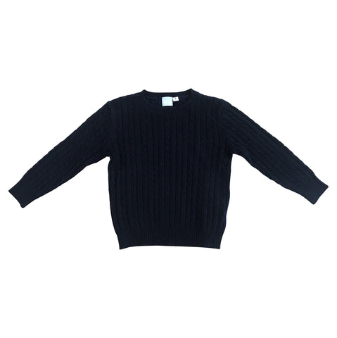 CASHMERE CABLE KNIT JUMPER IN NAVY