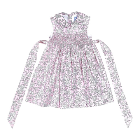 BELLA PALE PINK FLORAL SMOCK DRESS