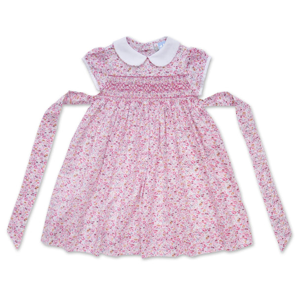 BELLA CAP SLEEVE PINK FLORAL SMOCK DRESS