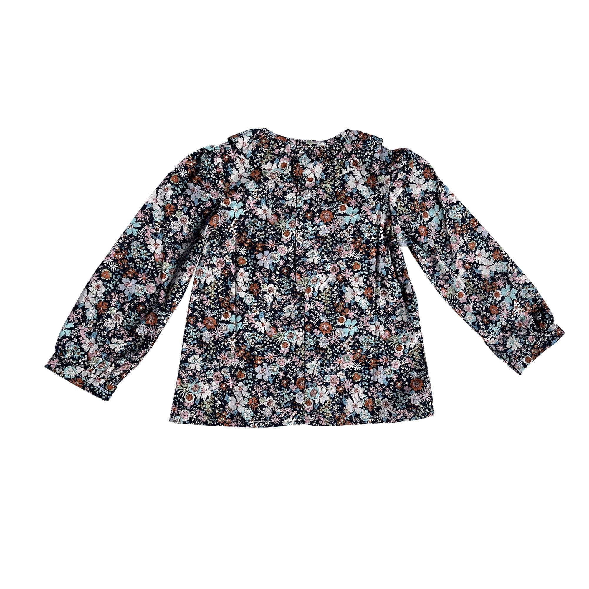 FRILL COLLARED SHIRT IN NAVY FLORAL