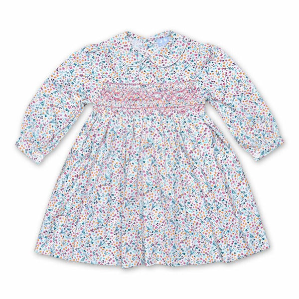 GRACE WHITE FLORAL CORDUROY SMOCK DRESS