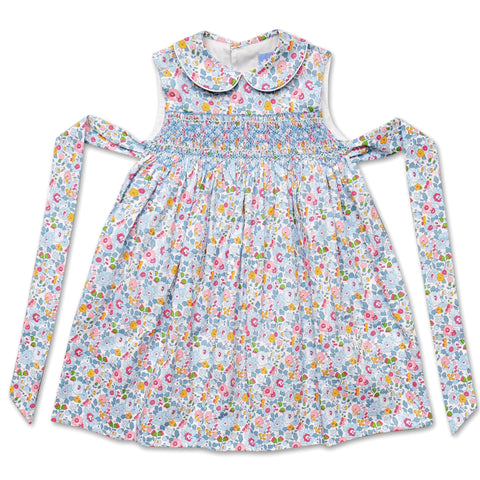 BELLA PALE BLUE LIBERTY PRINT SMOCK DRESS